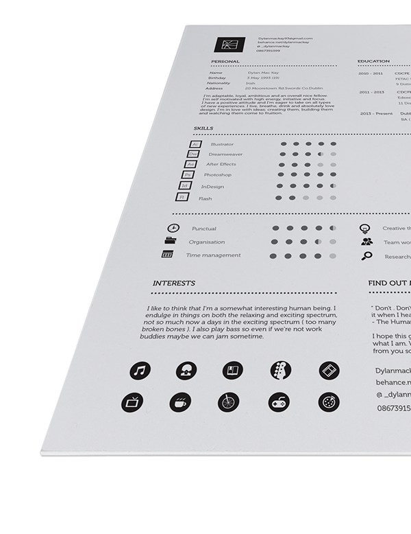 Professional, Minimal and sleek re design of resume and stationary.
