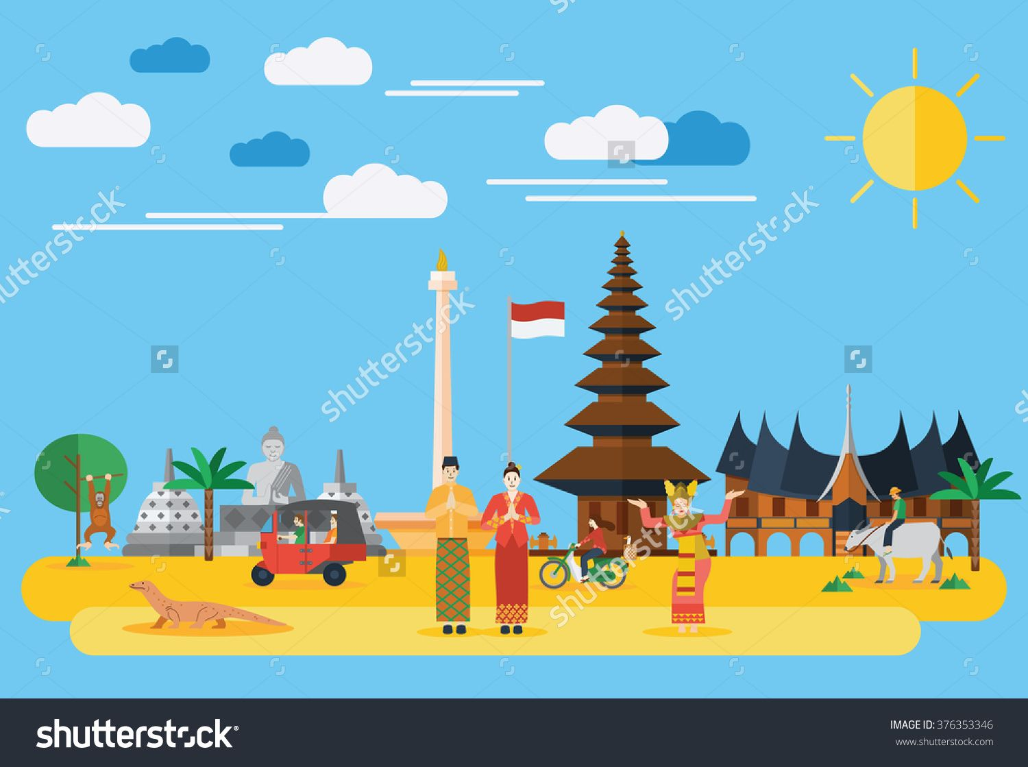 flat design illustration of indonesia icons and landmarks flat design illustration illustration flat design flat design illustration illustration