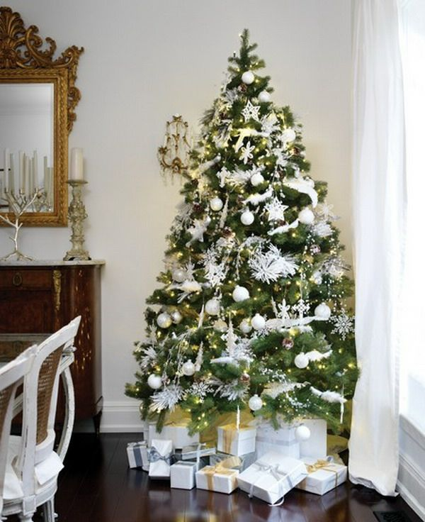 1001 ideen f r weihnachtsbaum schm cken wei und silber. Black Bedroom Furniture Sets. Home Design Ideas