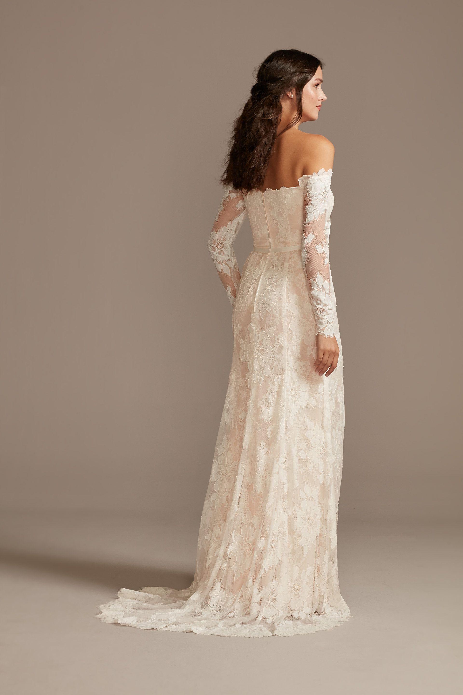 Large Floral Lace Long Sleeve Wedding Dress David S Bridal In 2020 Long Sleeve Wedding Dress Lace Petite Wedding Dress Davids Bridal Wedding Dresses