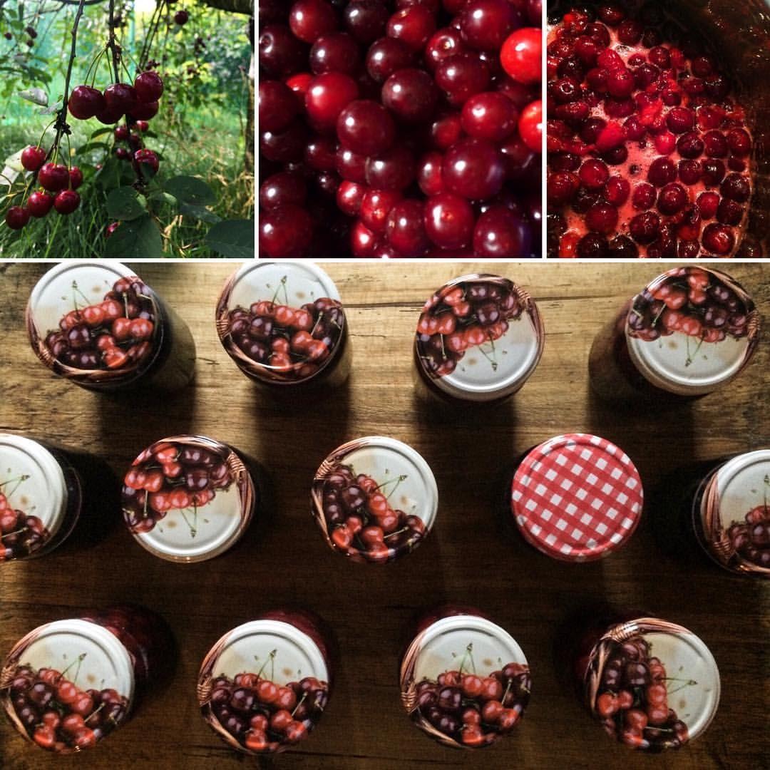 Cherries in the jars, preserves for winter, sweet cherry