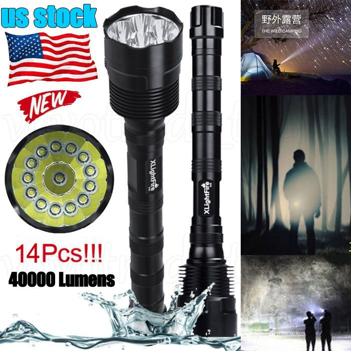 Rechargeable Flashlight Torch T6 LED Tactical Lamp Light 40000LM 18650 Battery