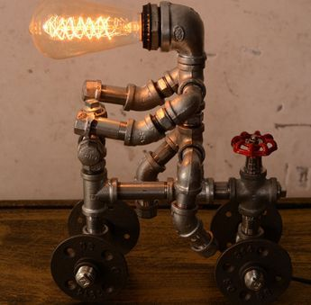 Designer Industrial Lighting, Bike Man   Steampunk Lamp Table Lamp Edison  Vintage Light Water Pipe Bedside Lamp Rustic Light | Steampunk Lamp, ...