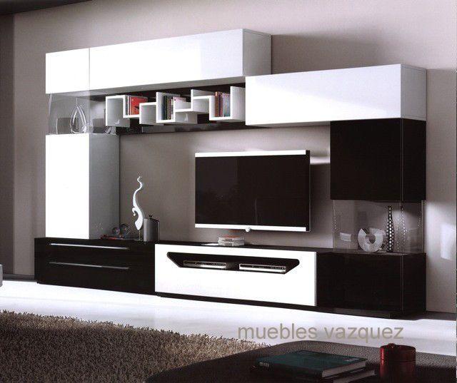 Blanco y negro salon pinterest muebles muebles for Disenos de modulares para living
