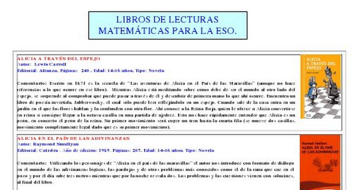 Libros De Lecturas Matemáticas Para La Eso Pdf Libros De Lectura Lectura Matematicas