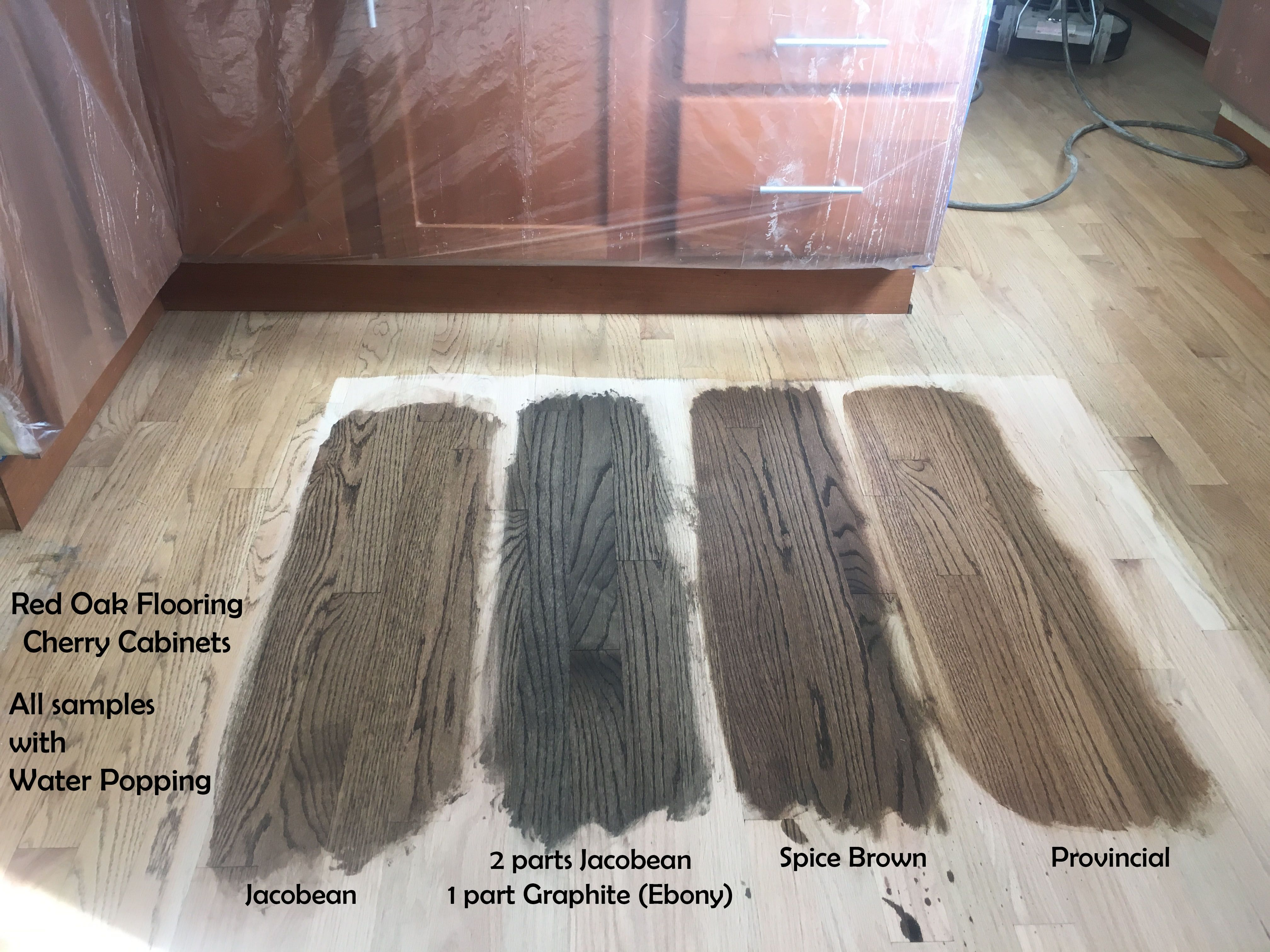 Red oak flooring stain options with Cherry Cabinets. Water ...