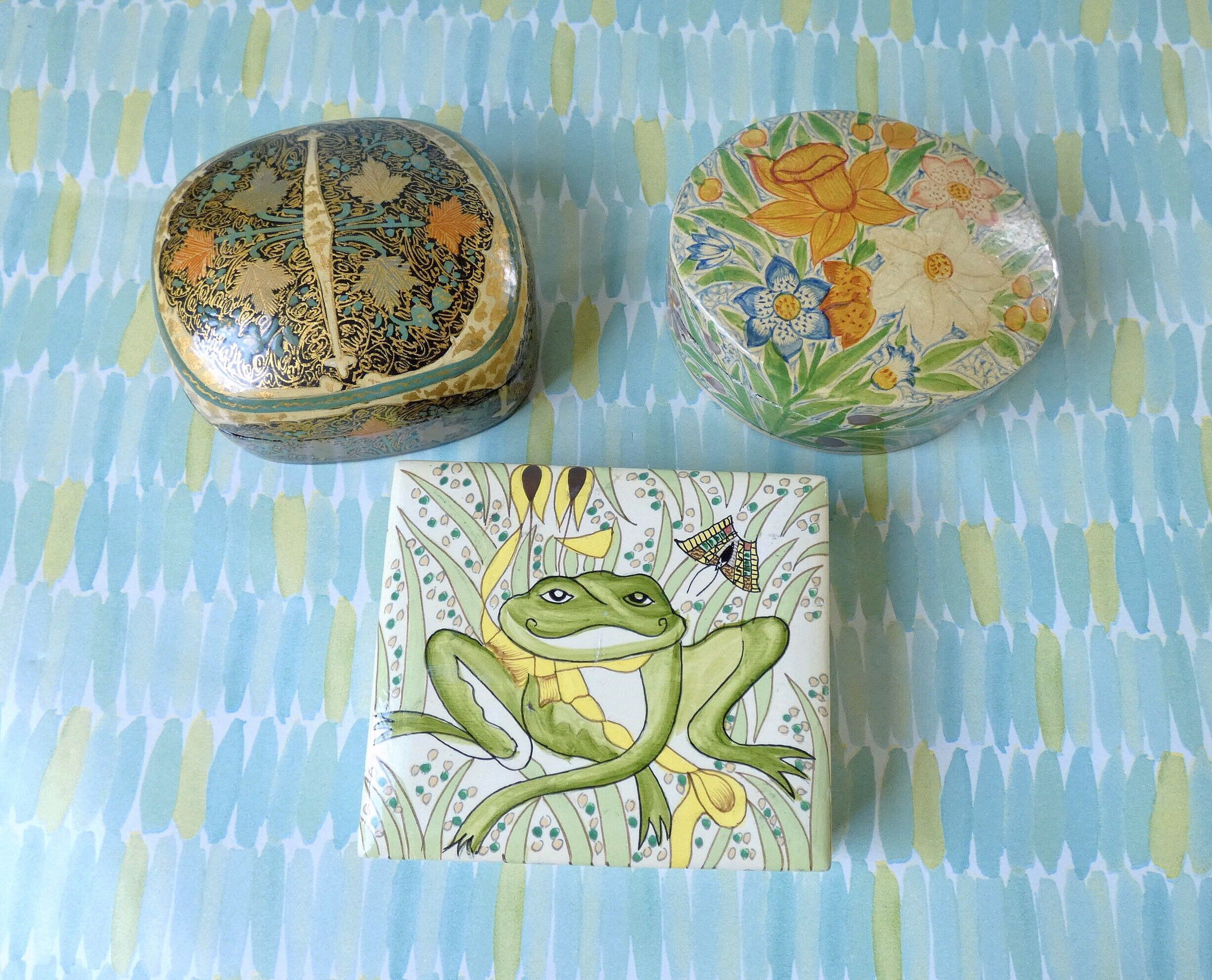 Kashmir Trinket Box Lot, Tole Painted Wood Boxes, Handmade Lacquerware #tolepainting