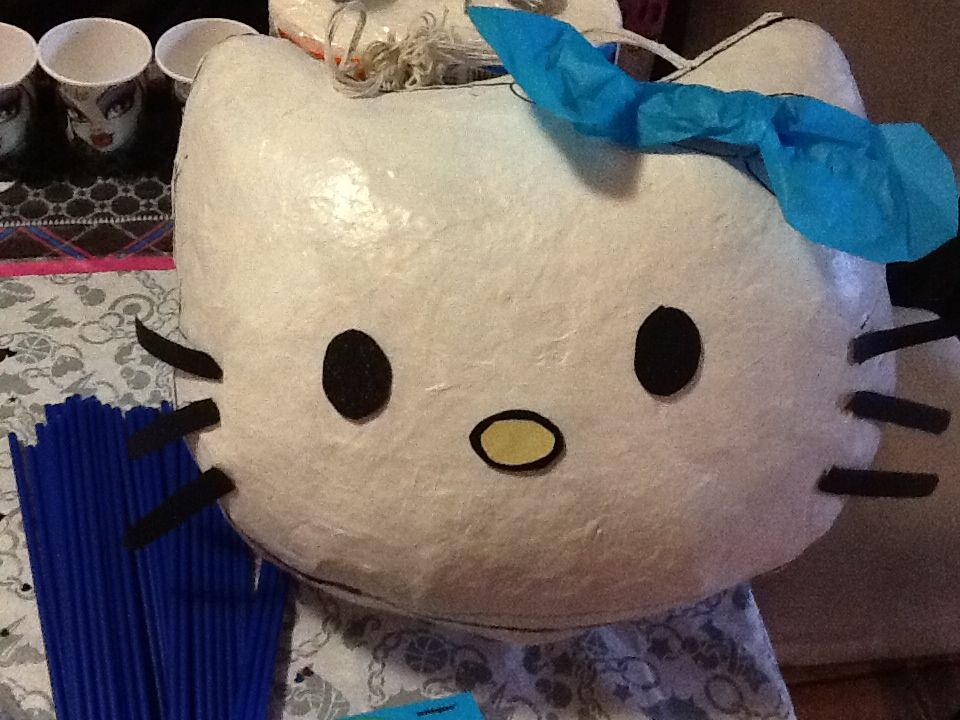 How to make hello kitty pinata...  what you need: Hello Kitty Shaped Balloon