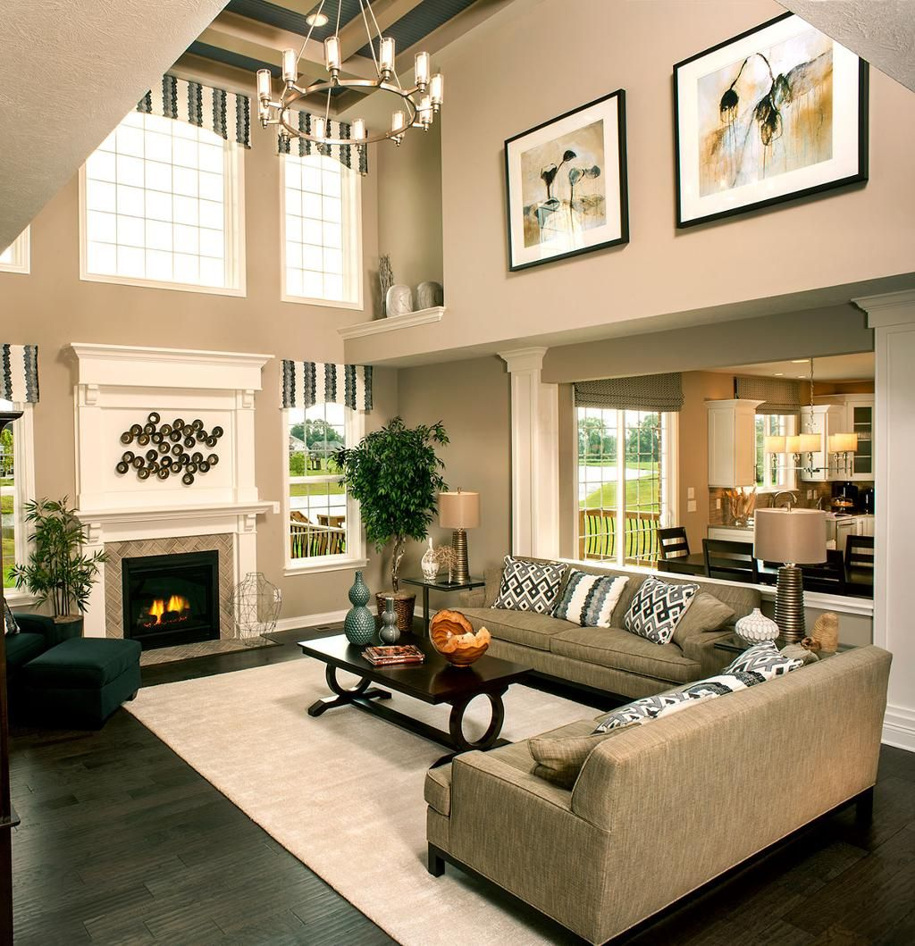 Breaking up a two story wall two story family room for Great room decorating ideas
