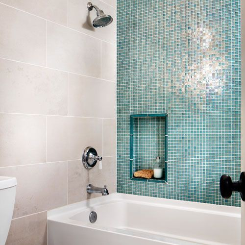 Beau White And Glass Tile Bathroom | Oasis