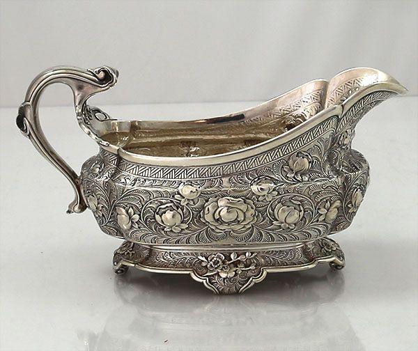 Tiffany sterling silver sauce boat. c1880 | http://www.silverperfect.com/Inventory/hollowware/tfnyrosesauceboatdetail.html