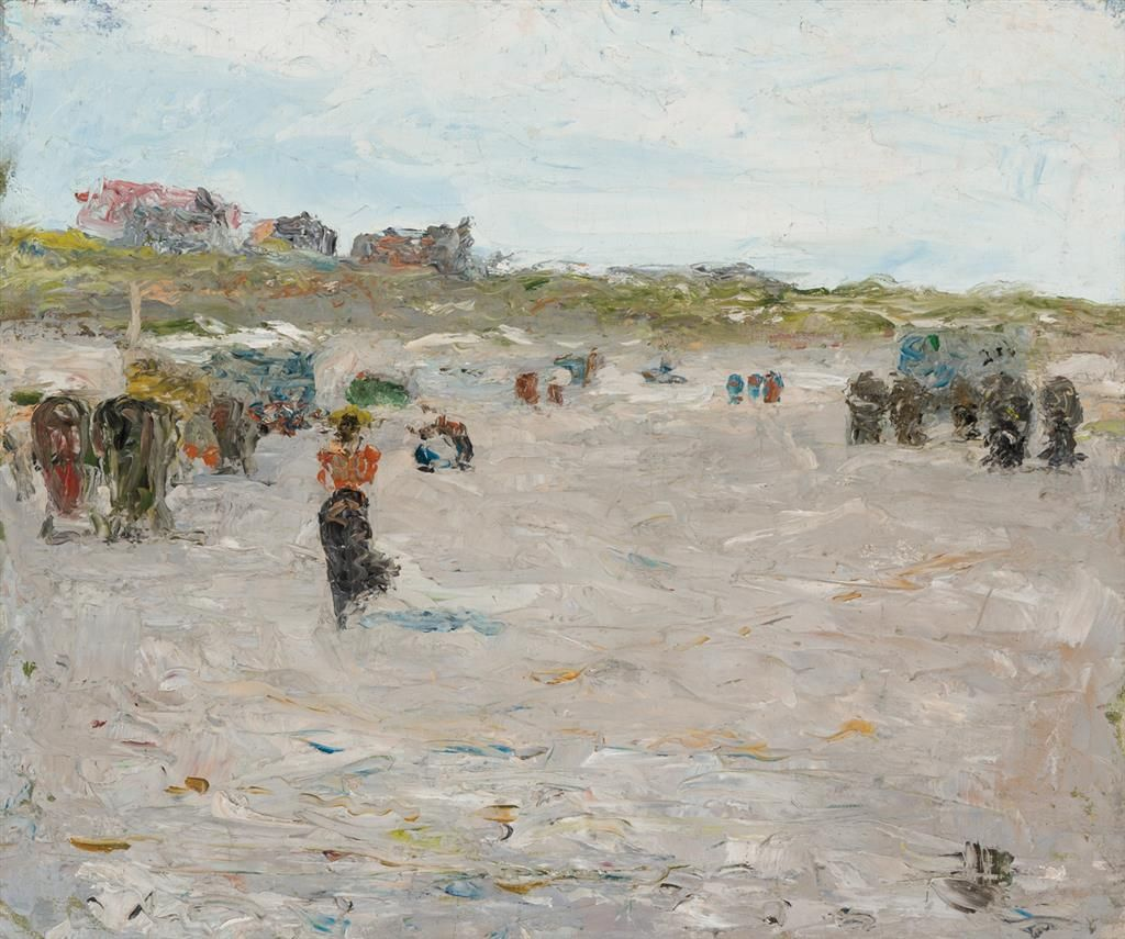 "Island Beach Scenes: ""Beach Scene With Figures And Buildings,"" Charles W"