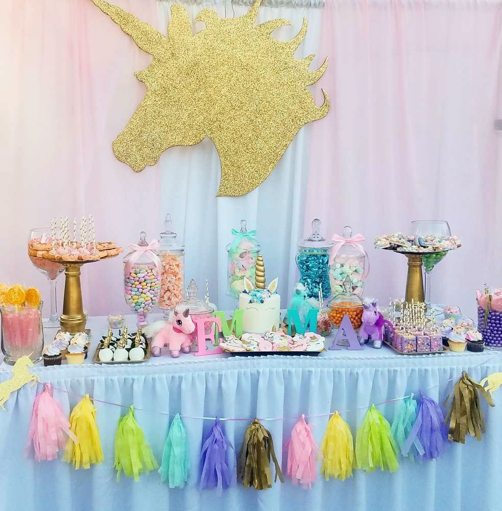 Image Result For Unicorn Candy Table Magical Baby Shower Unicorn Birthday Parties Birthday Parties