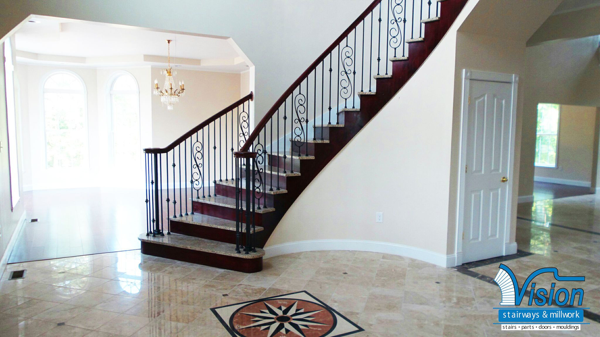 Best A Unique Partial Open Curved Staircase With Stone Treads 400 x 300