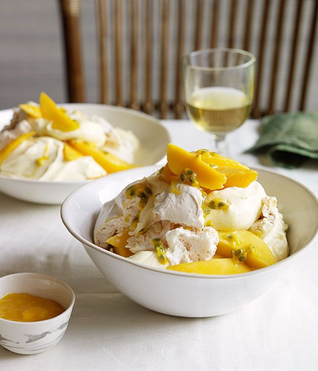 Simplify this dish by skipping the homemade meringues and heading to your local baker or supermarket instead. Between the mango cheeks and flavours of lime and passionfruit, there's plenty to love about this bowl. Gourmet Traveller