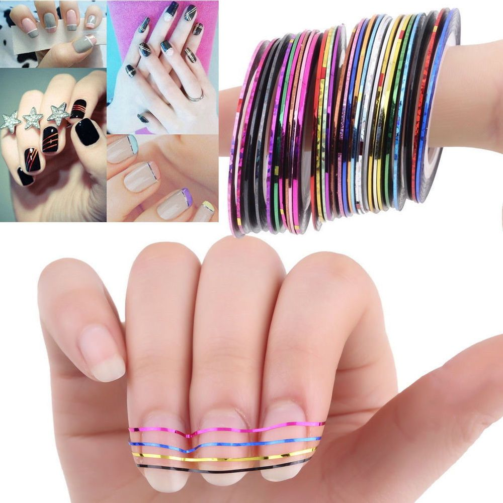 30 Pcs Mixed Colors Rolls Striping Tape Line Nail Art Tips