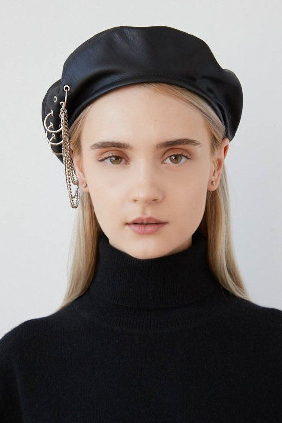 3118ebfccbce3 EVA Black eco leather beret with eyelets