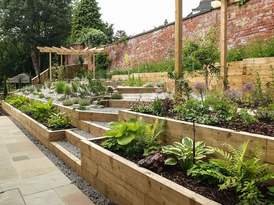Modern Garden with a rustic twist (With images) | Sloped ... on Tiered Yard Ideas  id=30465