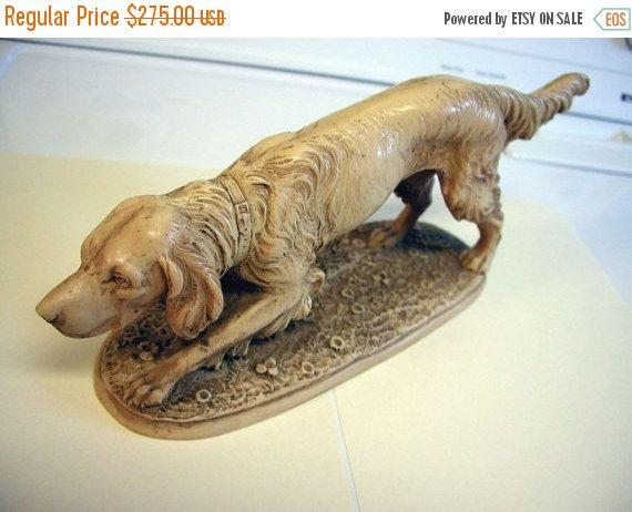 Pointer Dog Sculpture Vintage Dog Sculpture - A. Santini Signed Carrara Marble Pointer Dog Sculpture