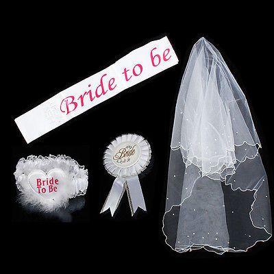 Bride To Be White Garter Sash Veil Badge Rosette Bachelorette Party Hen Night