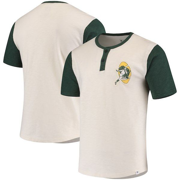 df90e679ab6 Green Bay Packers NFL Pro Line by Fanatics Branded True Classics Throwback  Henley T-Shirt – Cream Green
