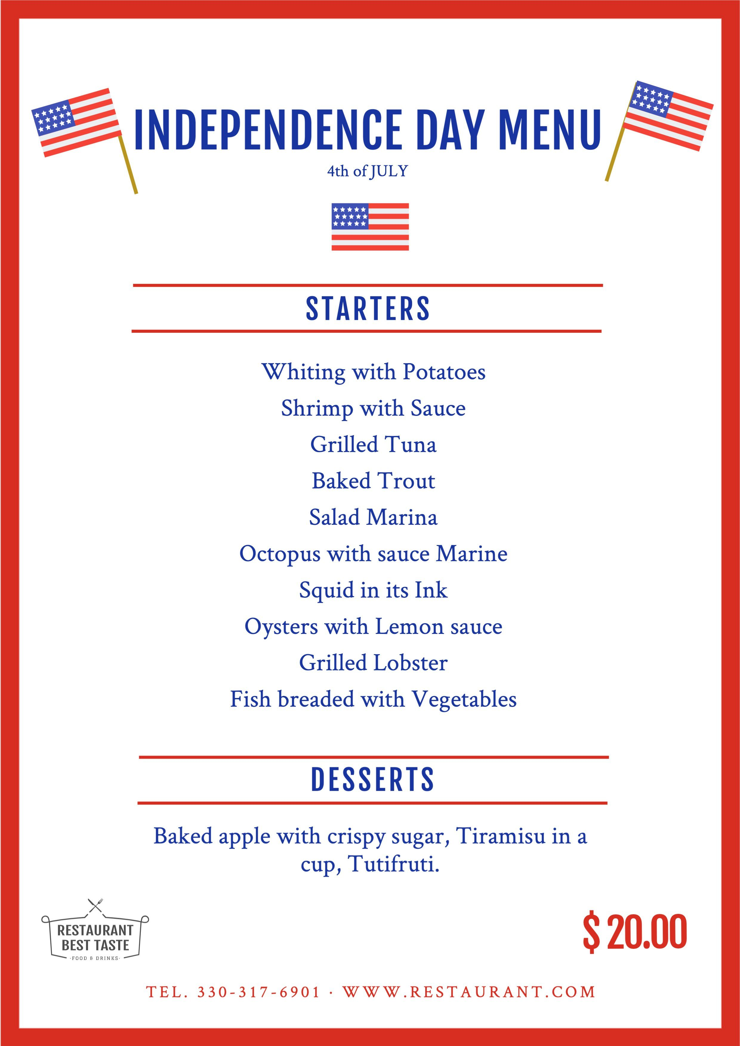 Independence Day Menu To Edit For Restaurants Restaurant Restaurant Menu Template Baked Trout 4th of july menu template
