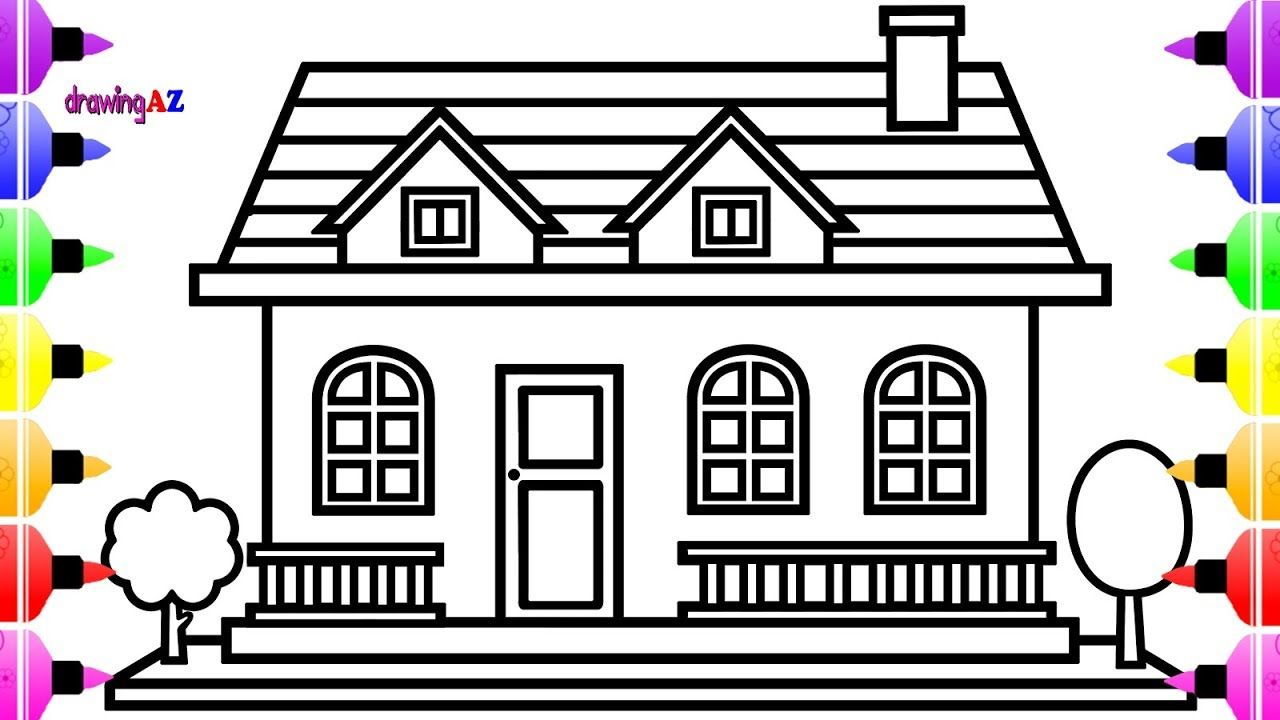 How To Draw House For Kids And House Coloring Pages For Children House Colouring Pages Cat Coloring Book Halloween Coloring Pages