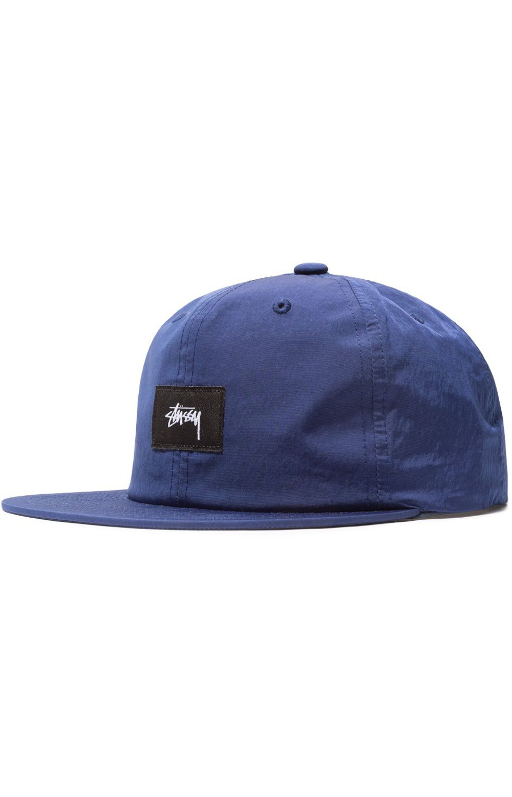 9c8acf702bb99 Stock Label Strap-Back Hat by Stussy. Structured 6 panel Flat Bill High  crown