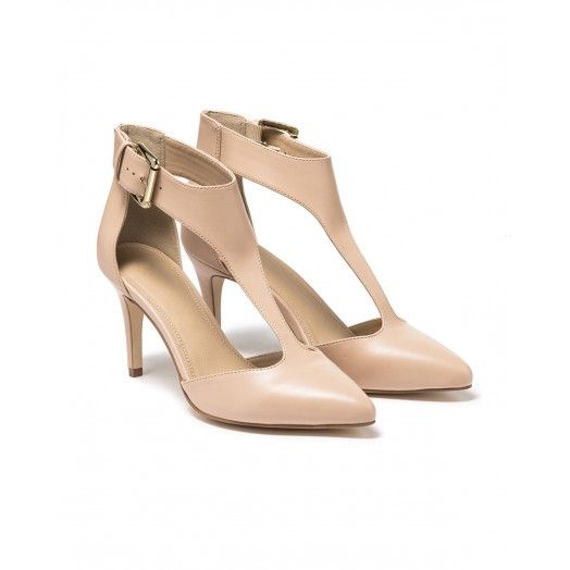 bdc6279c7656d Pointed-toe eco-leather sandals with medium height stiletto heel ...