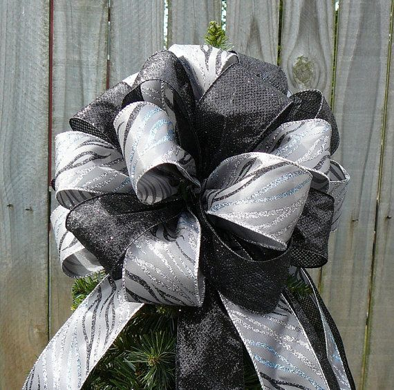 Black And Gray Christmas Tree Topper   Tree Top Bow   Animal Print   Glitzy  Black And Silver Animal Print With A Touch Of Blue