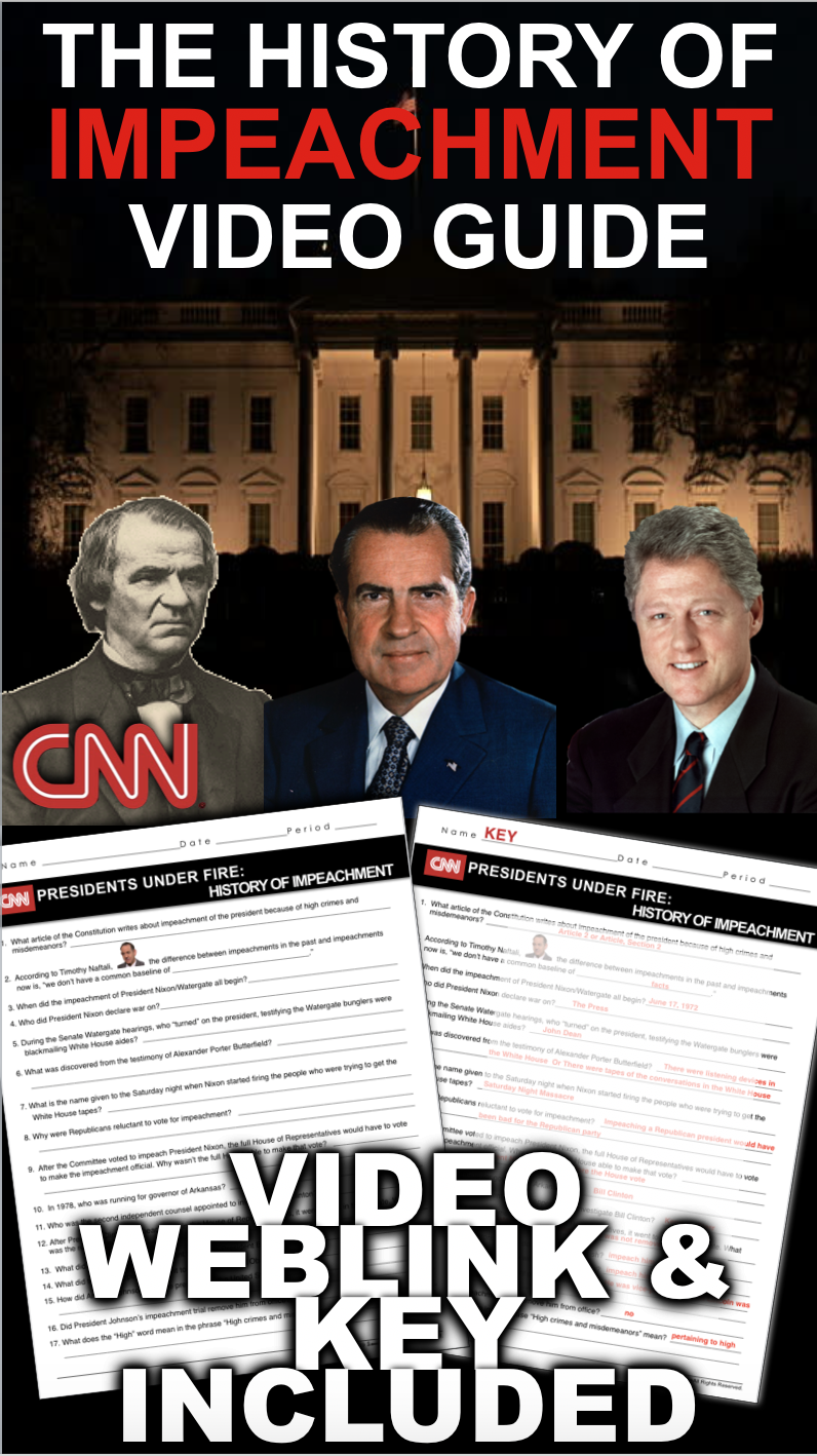 History of Impeachment from CNN Video Link \u0026 Video Guide   American history  lesson plans [ 1418 x 796 Pixel ]
