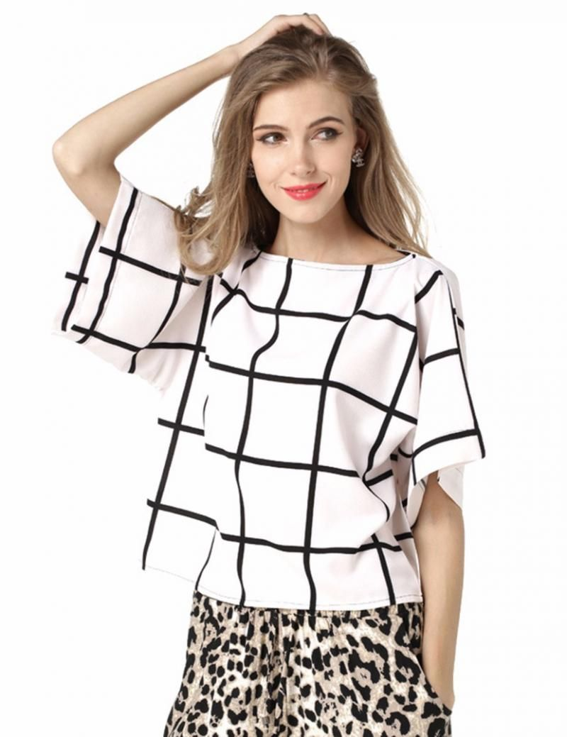 Click to Buy << Women's Black and White Check Style Wild Top ...