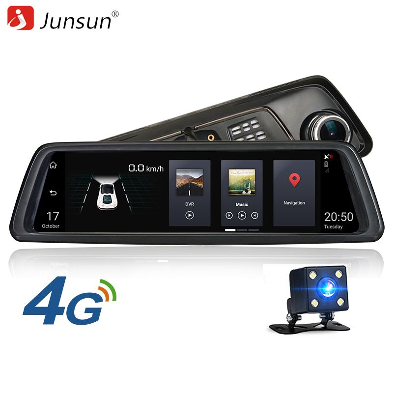 """Junsun 4G ADAS Car DVR Camera 10/""""Android 5.1 FHD 1080P gps navigation Dash cam"""