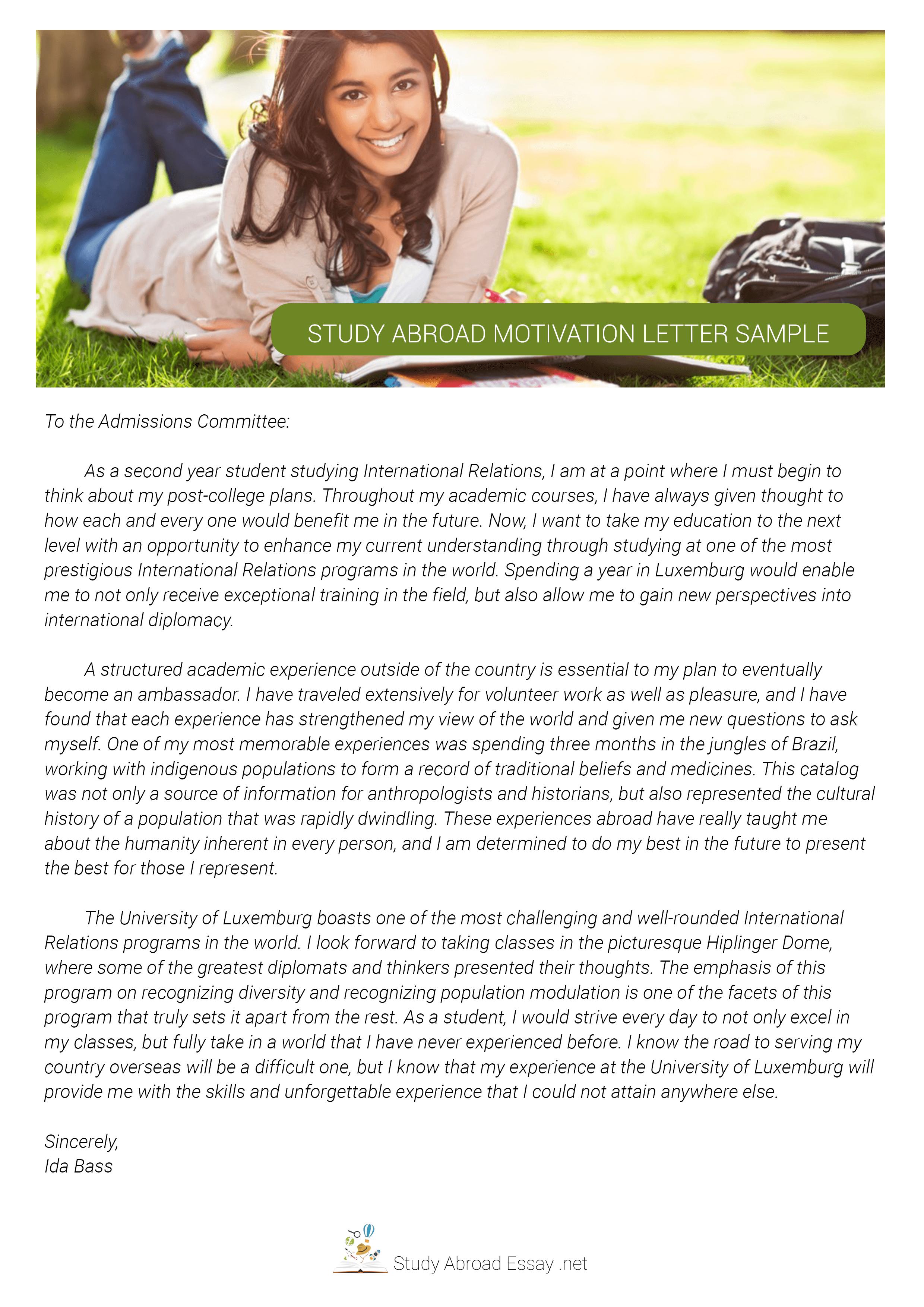 Study Abroad Motivation Letter Sample  Motivational letter, Essay