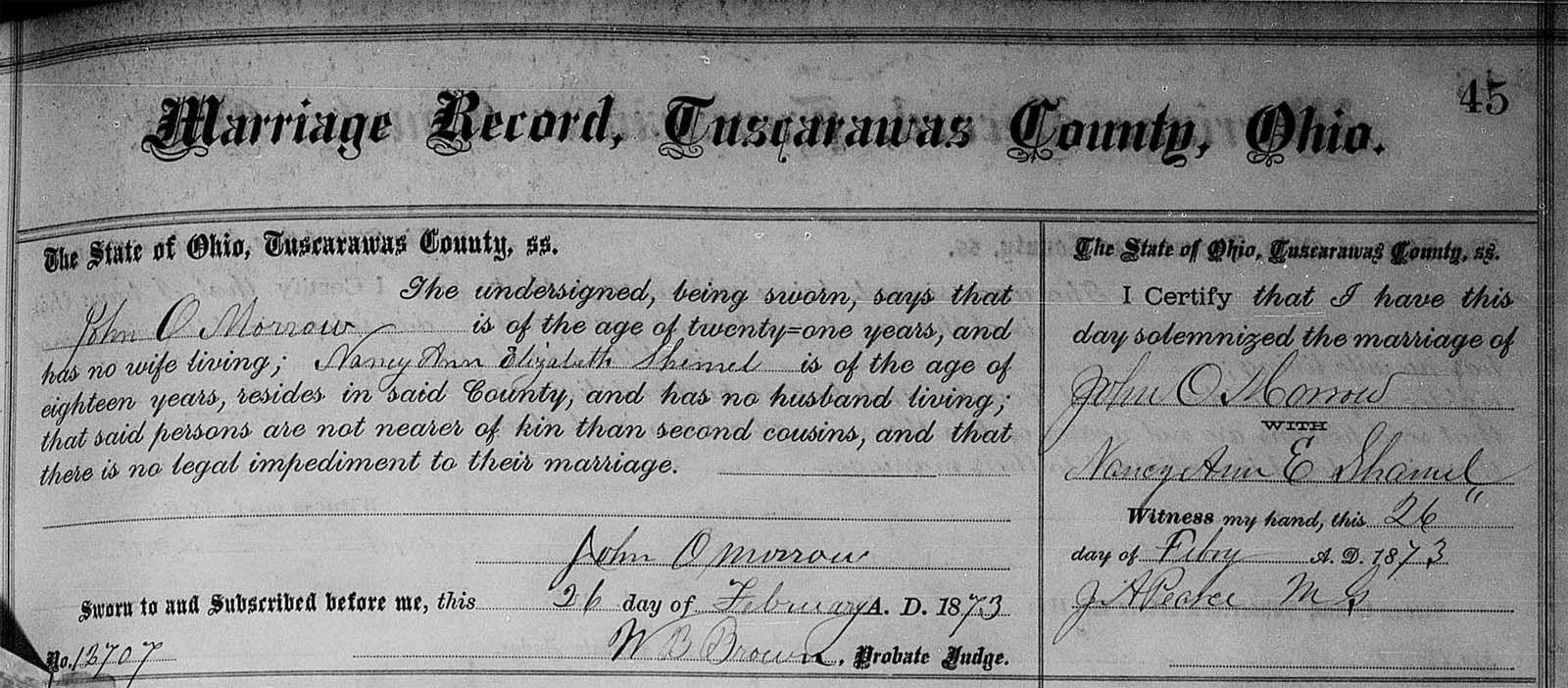Shamel  OMorrow Marriage Certificate Ancestrycontest  My