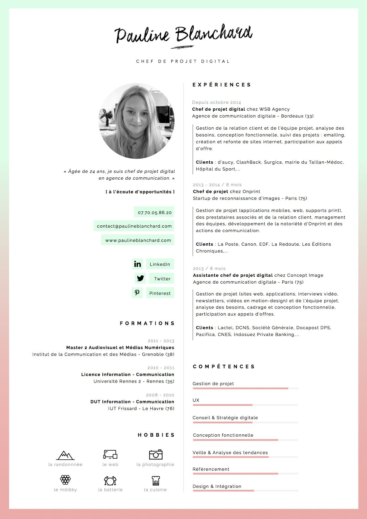 CV Pauline Blanchard, chef de projet digital à Bordeaux [ à l\'écoute ...