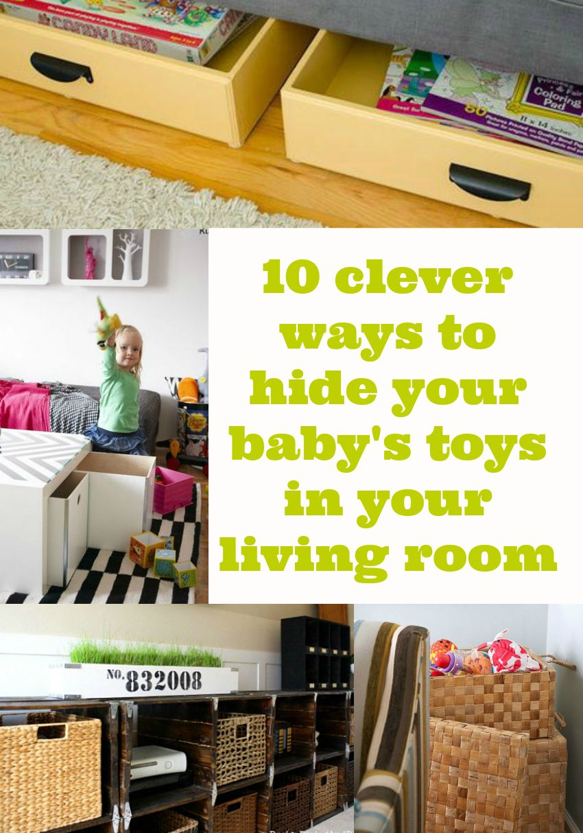 10 ways to hide toys in your living room from storage cubes, ottamans and  storage drawers under the sofa. How do you hide toys away from guests?