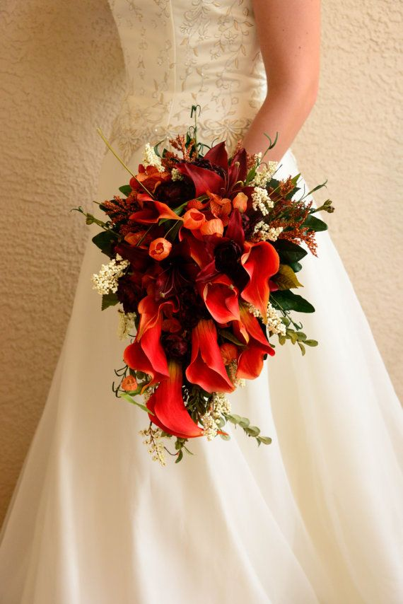 Brides Wedding Cascade Style Bouquet With Bridesmaid Bouquets