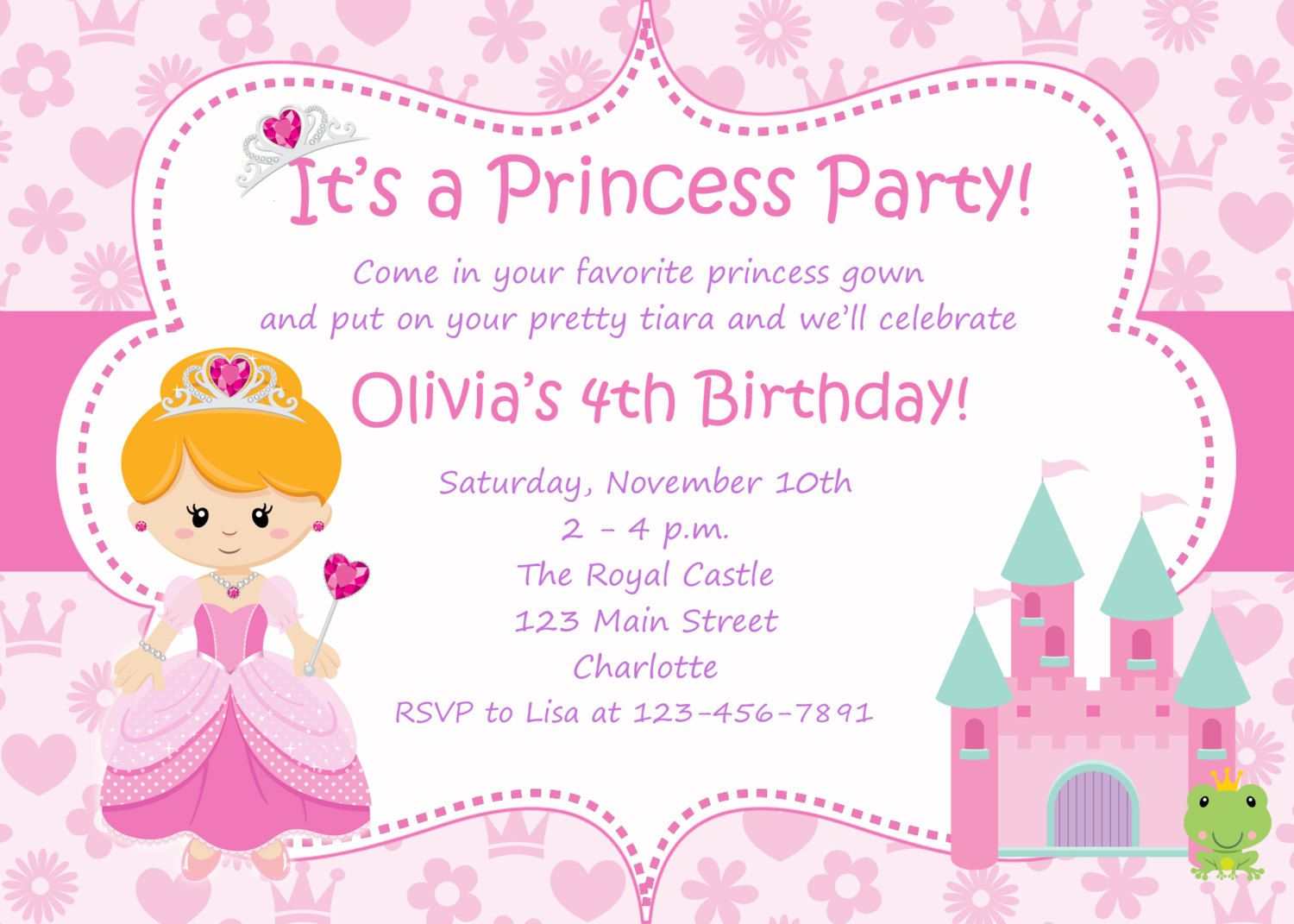 Princess Party Birthday Invitation Any Hair Color