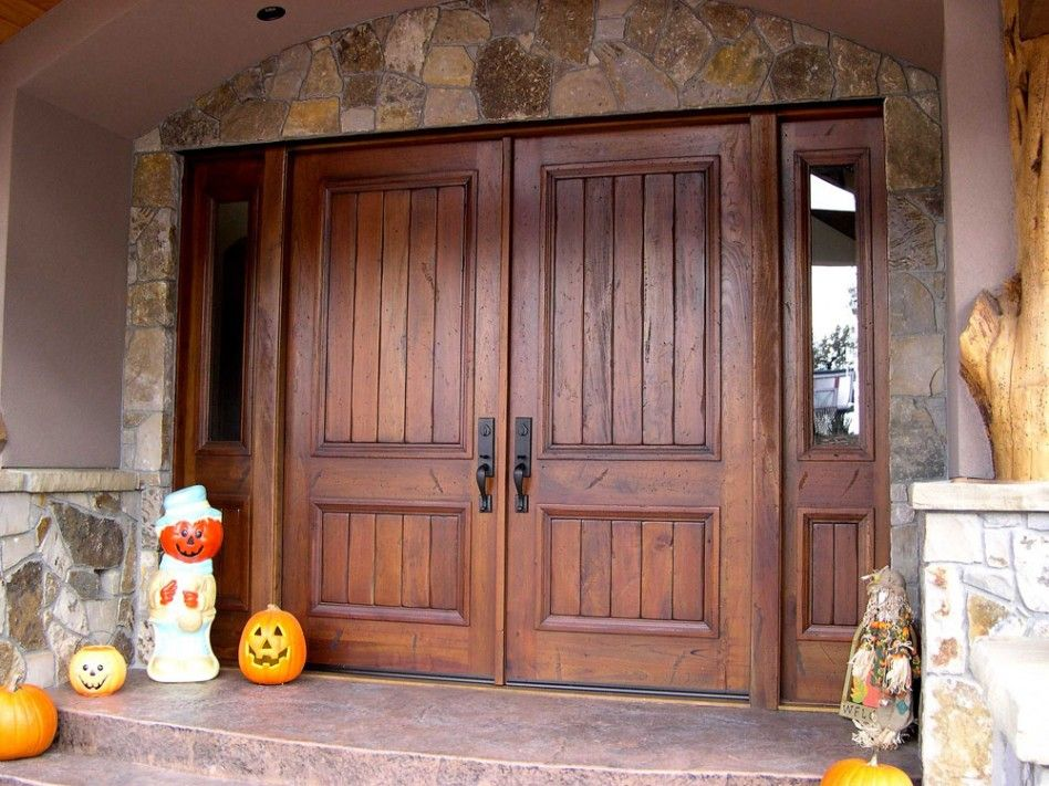 exterior double rustic exterior entrance door with solid dark varnished finishing design