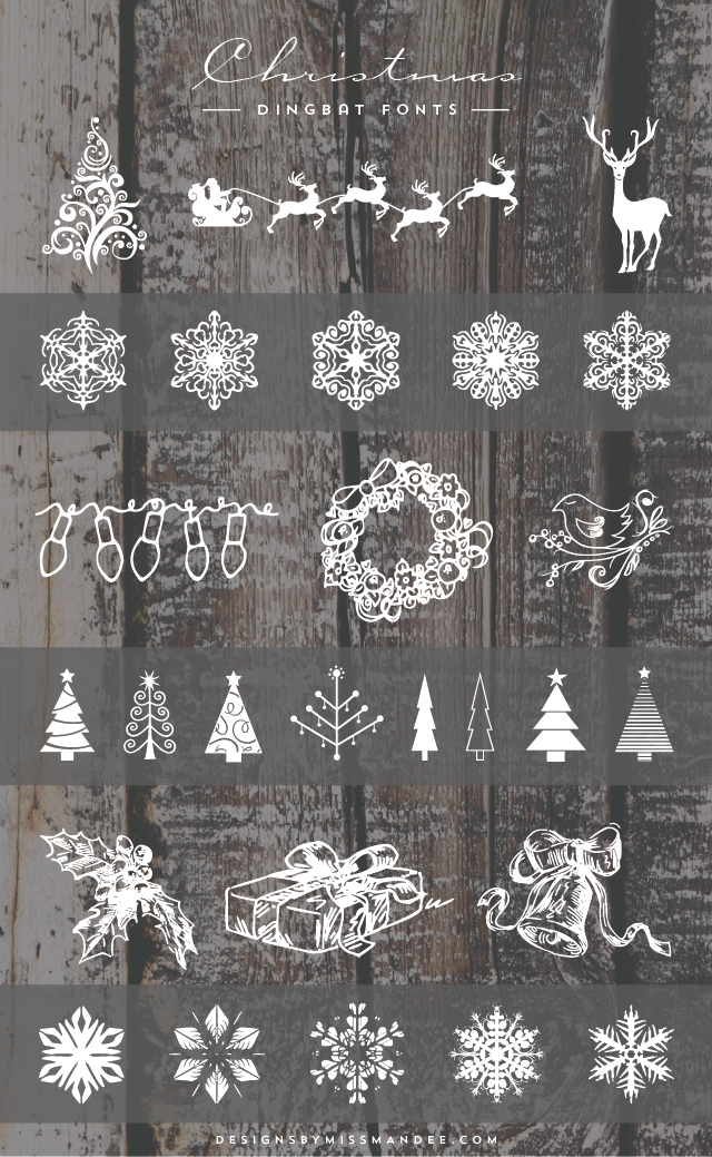 Christmas Dingbat Fonts Designs By Miss Mandee Dingbat Fonts Christmas Designs Holiday Design