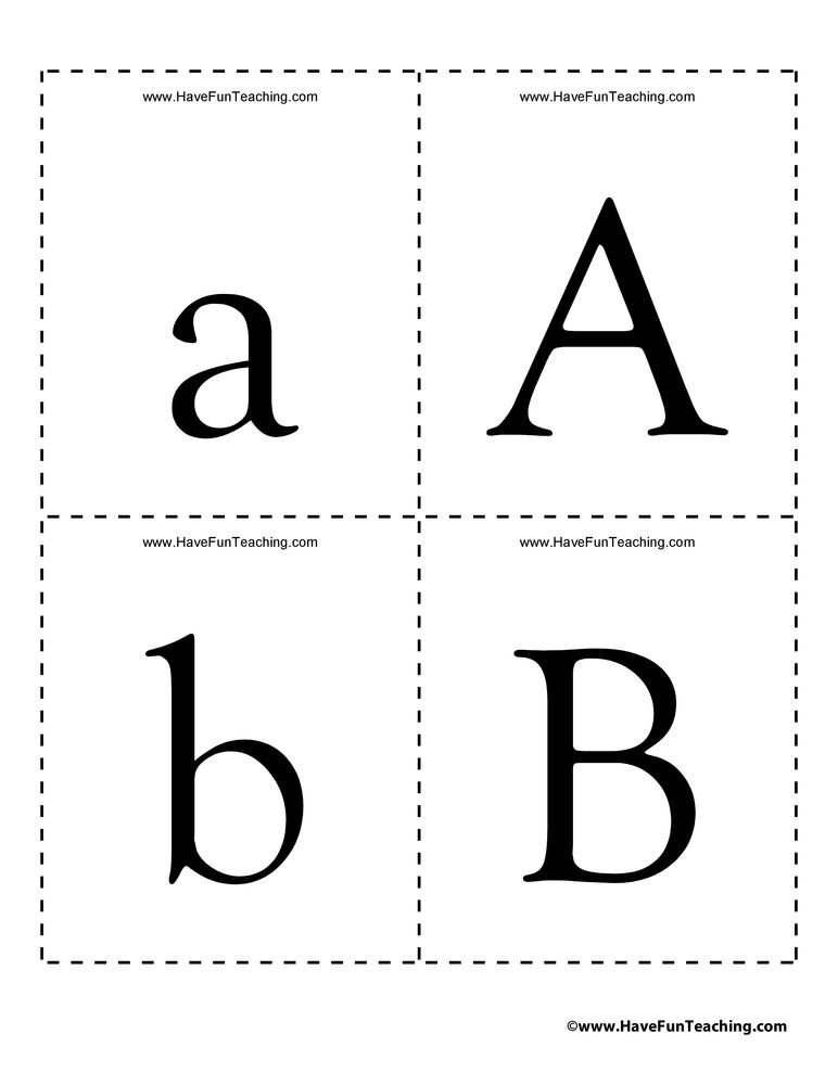 Alphabet uppercase and lowercase flash cards have fun