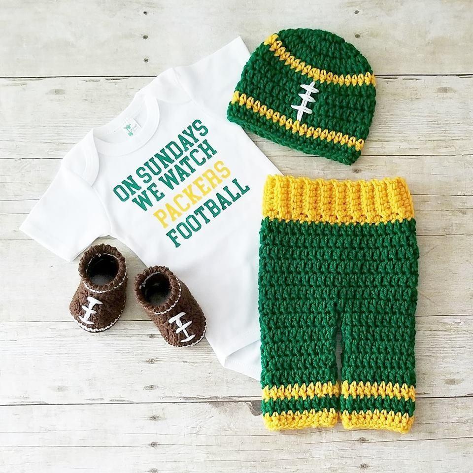b5430f318332b8 Crochet Baby Football Beanie Hat Onesie Bodysuit Shoes Pants Set NFL Team  Infant Newborn Baby Handmade Photography Photo Prop Baby Shower Gift Present
