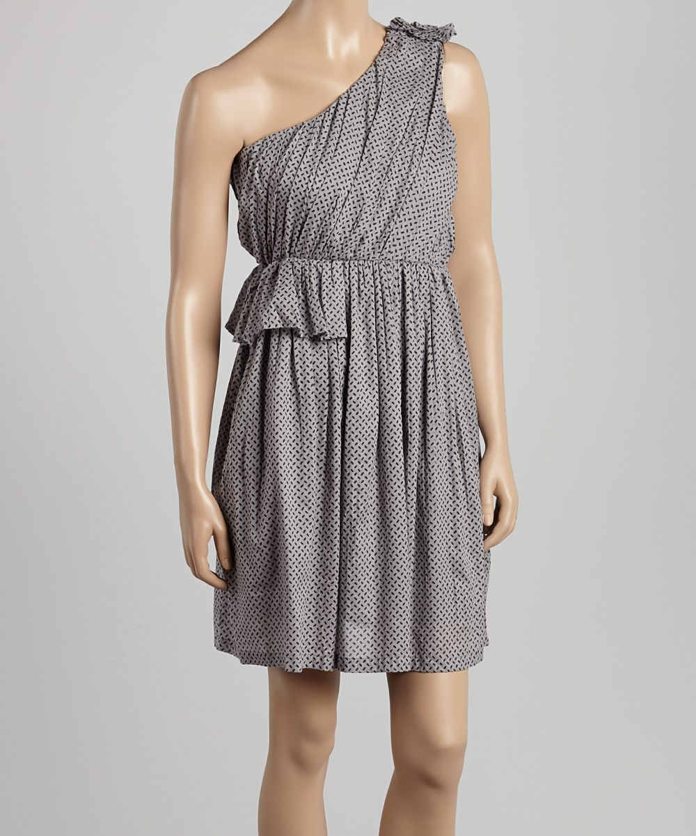 Gray Abstract Asymmetrical Dress - Women