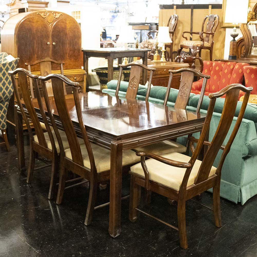 Bernhardt Asian Inspired Dining Table With 6 Chairs Fine Dining