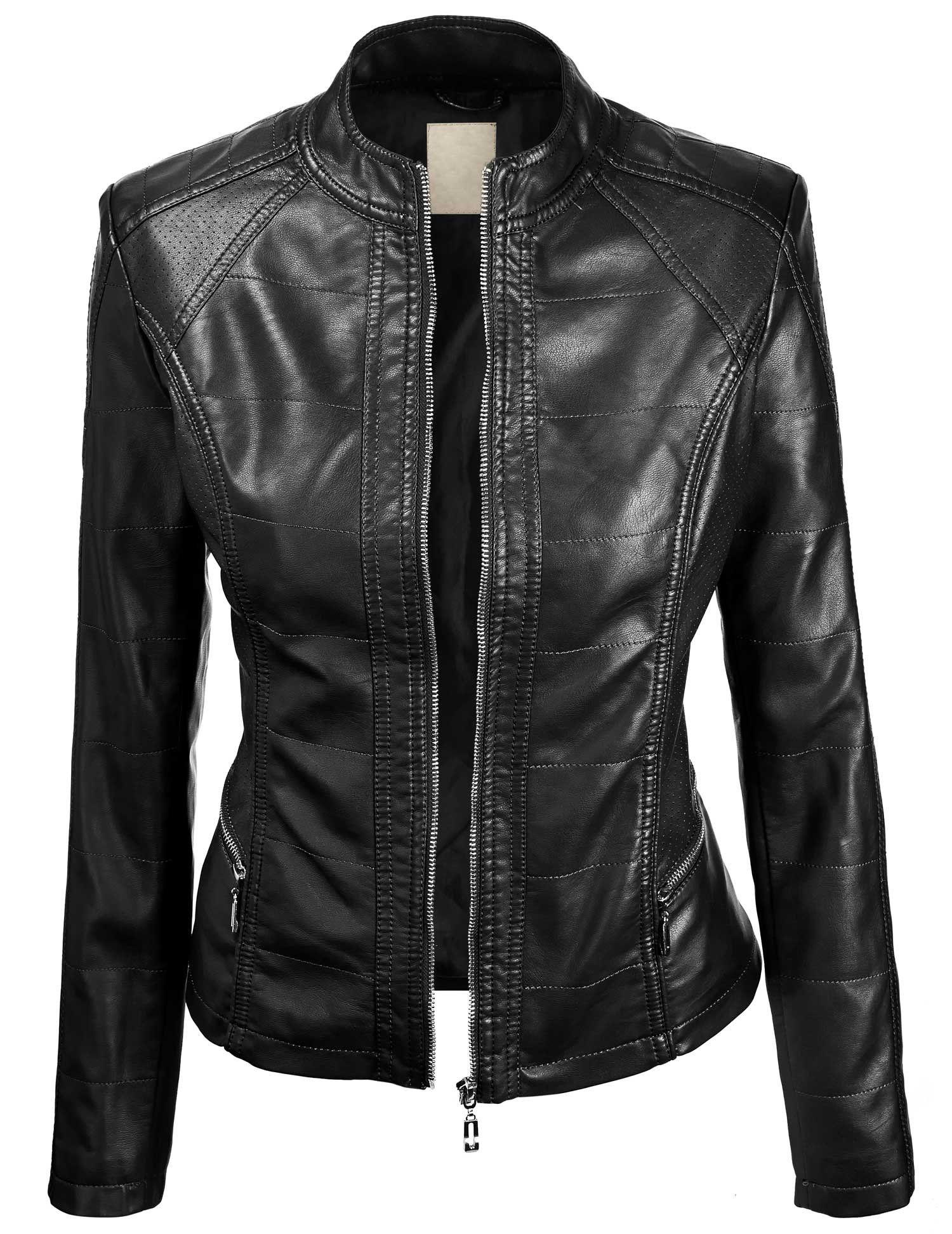 Ll Womens Everyday Bomber Jacket At Amazon Women S Coats Shop Faux Leather Jacket Women Leather Look Jackets Leather Jackets Women
