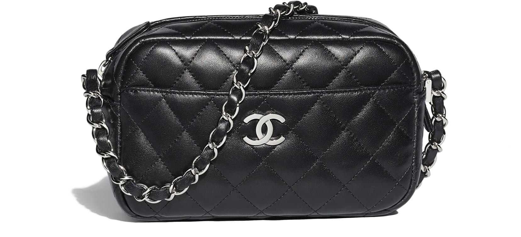 b5f4bb0fa713 Camera Case, lambskin & silver-tone metal, black - CHANEL | Chanel ...