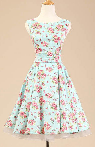 Mint Floral Vintage Dress  6c033218db6c