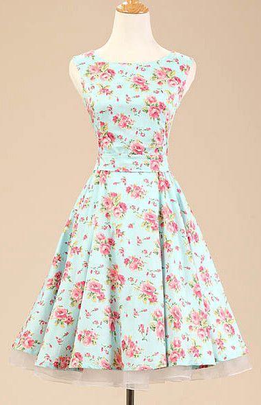 Mint Floral Vintage Dress | Vintage dresses, Floral and Vintage