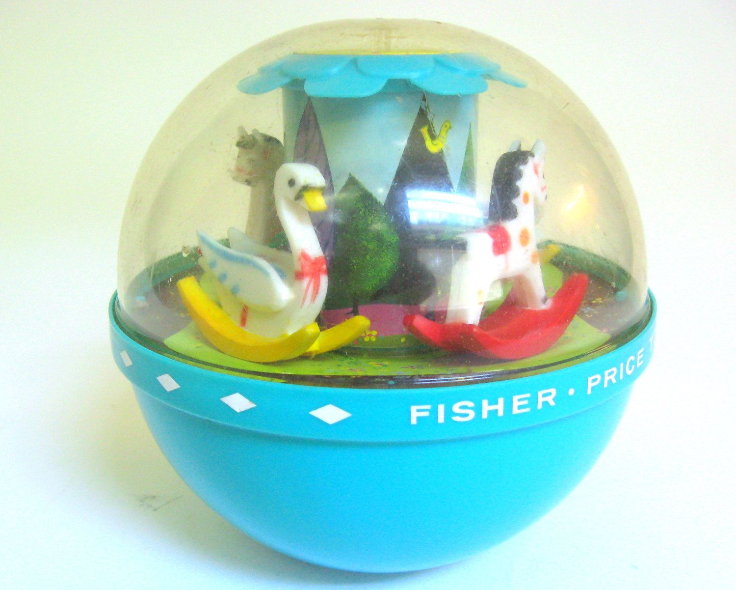 Vintage Fisher Price Toy 1966 Roly Poly Chime Ball For